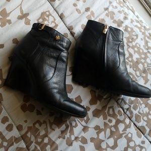 Tori Burch Black leather booties 2014